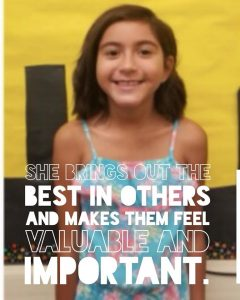 this year's Be the One Ambassador award. Please help us congratulate Camila, a 2nd grader from Binkley Elementary!