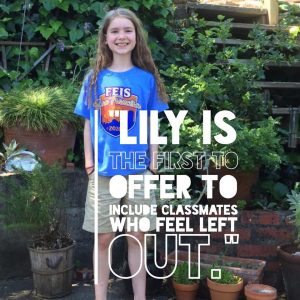 the 9th nominee for this year's Be The One Ambassador award… Help us congratulate Lily, a 5th grader from River Montessori Charter School!