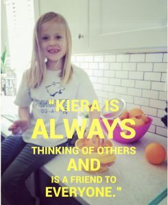 our final nominee for the Be The One Ambassador Award… Kiera, a kindergartener from Penngrove Elementary School!